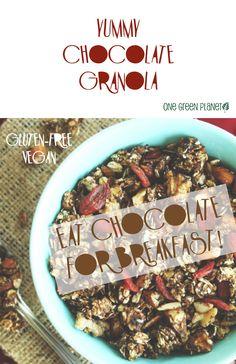 http://onegr.pl/1zmdolh #vegan #vegetarian #chocolate #granola #breakfast #glutenfree #protein #soyfree