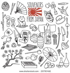 "Traditional Souvenirs From Japan. Japanese Hieroglyphs On The Scroll Means ""Japan"". Vector Freehand Illustration Isolated On White Background. - 257767492 : Shutterstock"