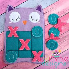 Sleepy Owl Tic Tac Toe Embroidery Design - 4x4 or Larger - E&Me Designs