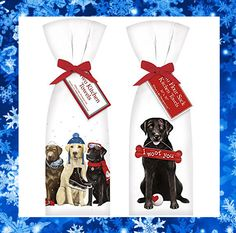 """Looking for new kitchen towels? We just got in adorable dog kitchen towels for the winter and valentines day season! These flour sack towels come in a set of two and are 30"""" x 30"""" featuring an adorable design. The """"I Woof You"""" towel would be a great addition to a Valentines Day present for any dog lover who likes to spend time in their kitchen. #kitchenaccessories #dog #dogtowels #Sophias #Valentinesday #gifts"""