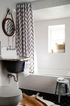 Bright Country Bathroom With Gray and White Chevron Shower Curtain, Animal Hide Rug and Deep Floating Sink Bad Inspiration, Bathroom Inspiration, Bad Styling, Family Apartment, Room Tiles, Transitional Bathroom, Bathroom Design Small, Bathroom Designs, Bath Design