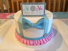 Gender reveal cake (bow tie/tutu theme)