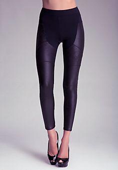 Black Faux Leather Coated Chap Leggings @ BEBE $80