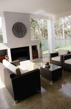 Alfresco inspiration, alfresco ideas, new home inspiration, outdoor area, outdoor woodfire, designer alfresco, custom building, polished concrete