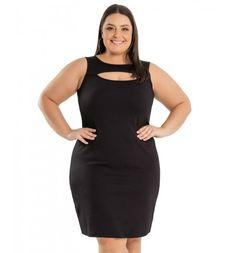 Vestido Tubinho Preto em Ponto Roma Miss Masy Plus Size  #modaplussize #roupasplussize #roupasfemininas #modafeminina #plussize #beline