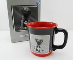 Keith Kimberlin Puppy & Kitten on Black & Red Mug Cup NEW in Box 12 oz