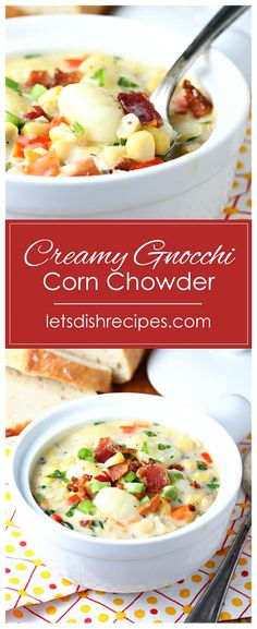 Creamy Gnocchi Corn Chowder Recipe -- This creamy soup is loaded with corn, potato gnocchi, bacon, cheese and plenty of herbs and spices for a delicious, comforting lunch or dinner. Corn Recipes, Side Dish Recipes, Healthy Dessert Recipes, Appetizer Recipes, Quick And Easy Soup, Easy Holiday Recipes, Vegetarian Soup, Corn Chowder, Slow Cooker Soup