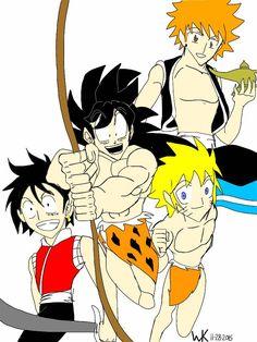 anime multiverse: goku(tarzan), naruto(mogli), monkey d. luffy(Sinbad) and ichigo kurosaki(Aladdin)