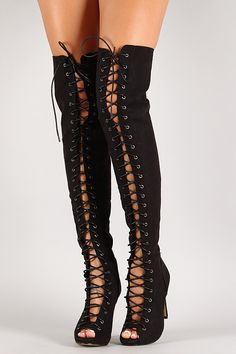 Women thigh high lace up- boots. Love these. | Women's Fashion ...