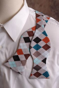 Multicolored Argyle Bow Tie by PinchAndPull on Etsy, $19.99