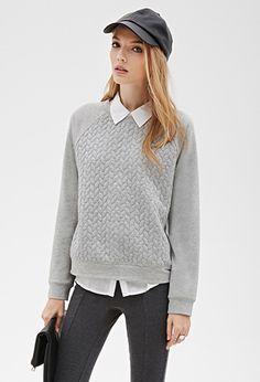 Heathered Braid-Quilted Raglan Sweatshirt | FOREVER21 - 2000099772