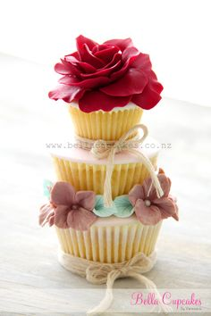Red Rose & Blossoms Stacked Cupcake