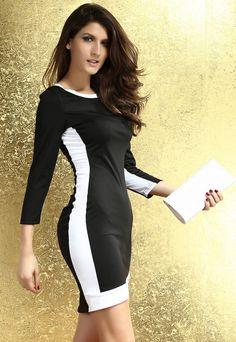 White Trim Bodycon Midi Dress in Black