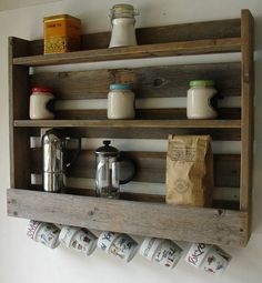 """Ha!  """"Rustic Reclaimed Wood Coffee & Tea Rack with 5 Mug Cup by KeoDecor, $85.00""""  Rustic, refurbished, looks like it costs about $2, actually costs $85"""
