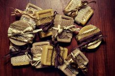 Homemade Shea Butter Soap, Vanilla & Coffee Soap, Lemon Soap, Lemon Zest, Rustic Wrap, Easy to Make, Great Homemade Gift