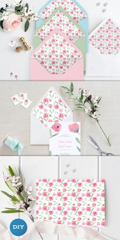 Watercolor Envelope Liner Printable Envelope Liner Wedding Diy Envelope Liners, Wedding Stationery, Wedding Invitations, Wooden Decor, Easy Diy Crafts, As You Like, Envelopes, Platforms, Wall Art Decor