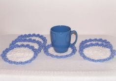 Hand Crochet Coasters Blue White Crochet Mug Cup Drinking Glass Mats Coasters Round Crochet Coaster Set Of 6 Handmade Coasters Round Mats by ICreateAndCollect on Etsy