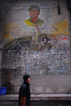 Remnants of Cultural Revolution era mural in China #Mao #China