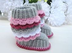 Baby Booties Crochet Baby Shoes Toddler Shoes Girl by Solnishko42, $35.00 Ansley needs!!!!☺️