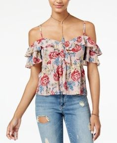c106800b0dac3f XOXO Juniors  Printed Ruffle-Trim Tropical Print Cold-Shoulder Top ...