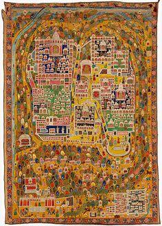 Gujarat or Rajasthan, India Map of Jain sacred site Shatrunjaya pilgrimage painting [tirtha pata] 1897?98