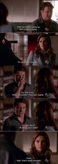 """""""This is my... that's the secret 'I love oyu' signal"""" - Rick and Kate #Castle"""