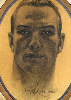 Rolf Armstrong| Self Portrait 1915 | A technically proficient early surviving self portrait charcoal drawing of and by Rolf Armstrong, capturing a slightly idealized version of the handsome square jawed athletic and rugged young artist... http://grapefruitmoongallery.com