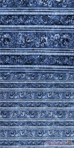 """cotton fabric with elegant blue white floral stripes, very high quality fabric, typical great Timeless Treasures quality, Material: 100% cotton, Fabric Width: 112cm (44"""") #Cotton #Flower #Leaf #Plants #USAFabrics"""