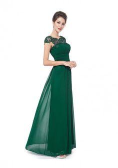 Langes Chiffon-Abendkleid mit Spitze in Grün - schnell und günstig bei VIP Dress