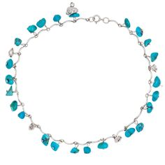 Sterling Turquoise Nugget Anklet