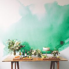 I can't believe I actually found where to buy this -- I assumed it was a paint technique the first time I pinned it, but it's actually wallpaper! Too bad it's $239.99 on sale. :( Watercolor Mural