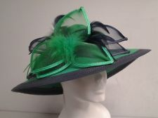 747dd88ff580d EMERALD NAVY P.P BRAID WITH FEATHERS LADIES CHURCH HAT Tea Hats