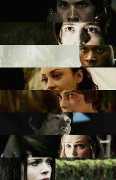 Bellamy, Finn, Wells, Raven, Jasper, Monty, Clarke, and Octavia