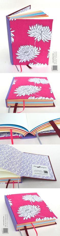 Libro de firmas Magnolias para Photocalafate Encuadernación tapas montadas – Tapas duras cubiertas de tela – 154 hojas (90 ahuesadas de 80grs y 64 de colores de 115grs) – tamaño 13×18 – señaladores