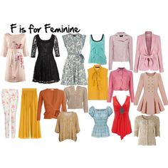 F is for Feminine by imogenl on Polyvore featuring Dorothy Perkins, H&M, Dries Van Noten, People Tree, Elie Saab, Wallis, Silvian Heach, Abercrombie & Fitch, Lipsy and Damsel in a Dress
