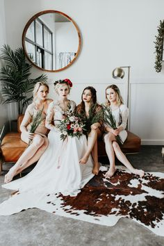 Lovely + lacy bride and bridesmaids from this Valentine's Day wedding inspiration | Image by Alex Lasota Photography