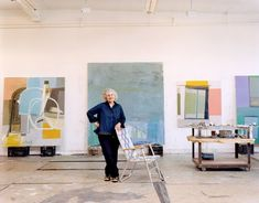 """I'm more interested in things that are awkward and clunky and complicated.""-Amy Sillman. Read more from the artist here. Sillman with several works from 2013–2014."