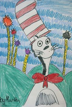 3rd graders drew portraits of the Cat in the Hat -