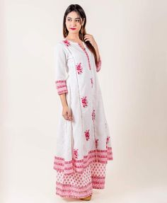919c431d5e2 White And Pink Hand Block Printed Suit Set. Western Dresses For Women ...