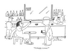 Unhappy woman! - New Yorker Cartoon Poster Print  by James Thurber at the Condé Nast Collection