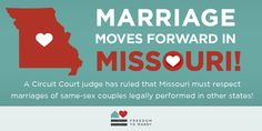 Justin's Political Corner • BREAKING: Missouri judge rules that the Show-Me State must recognize same-sex marriages performed in other states. #ShowMeMarriage #MO4M #LGBTQ