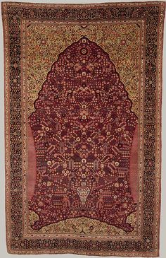 Prayer rug, 18th century; Mughal Probably Kashmir, India Wool pile on cotton and silk foundation. Paradise in Islam is described as a walled garden filled with flowers and cypress trees. Depictions of paradise in Islamic art often include a colorful garden of flowers sheltered by an arched gateway symbolic of the entrance to heaven. This artistic metaphor appears on textiles, architectural tile panels, and other objects, but is an especially appropriate decorative motif for prayer rugs. It…