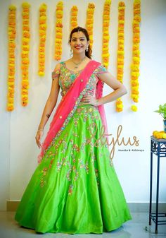 In a bridal look in a gorgeous multi color floral design lehenga and jewelry Half Saree Lehenga, Kids Lehenga, Anarkali Dress, Half Saree Designs, Lehenga Designs, Saree Blouse Patterns, Saree Blouse Designs, Sari Blouse, Bridal Silk Saree