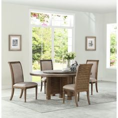 White Oak 5 Piece Round Dining Set   Austin Bar Height Dining Table, Round  Dining