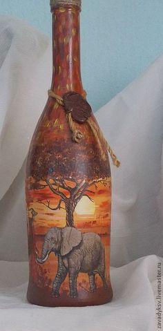 "Декоративные бутылки ""Африка"" - Декупаж,декупаж бутылок,Декоративная бутылка"