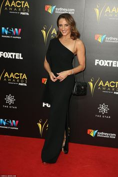 Black to basics: Home And Away's Georgie Parker, 51, opted for an off-the-shoulder black f...