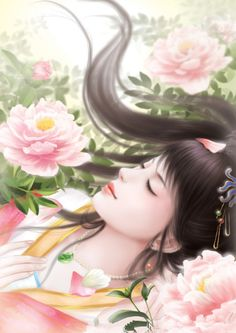 Chinese Lady Laying on Pink Flowers Art.