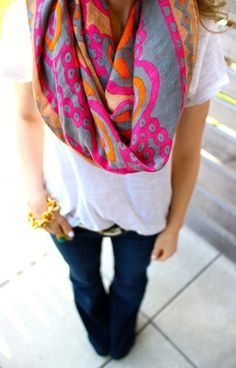 I love how the color pops against the slate blue-grey of the background (scarf)