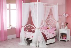 This 4 Poster #canopy #Bed brings a #feminine #style & charm to ur #teen #girls #bedroom
