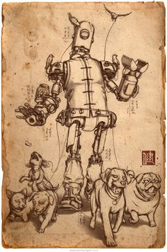 Award winning concept art by steampunk illustrator James Ng. Armed with a treat dispenser and various tools, the Pet Walker is designed to attend to the pets of the nobles. Dog Face Drawing, Steampunk Illustration, Steampunk Images, Cool Dog Houses, Diy Dog Bed, Dog Logo, Sketch Painting, Dog Tattoos, Dog Quotes